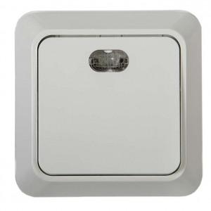 Выключатель 1-кл. ОП Bolleto 10А IP20 7121 накладной с подсветкой бел. ASD / IN HOME 4680005959754