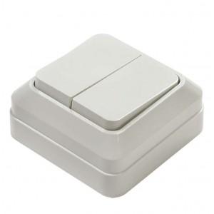 Выключатель 2-кл. ОП Bolleto 10А IP20 7023 бел. ASD / IN HOME 4680005959761