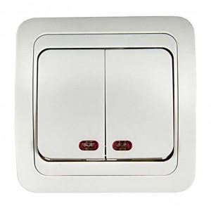 Выключатель 2-кл. СП Classico 10А IP20 с подсветкой 2123 бел. ASD / IN HOME 4680005959877
