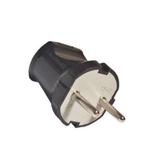 Вилка электрическая 6А 250В без заземл. черн. (еврослот) UNIVersal А0113