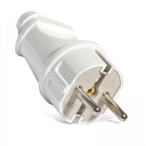 Вилка электрическая прямая 16А 250В с заземл. бел. (еврослот) UNIVersal А101