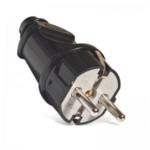 Вилка электрическая прямая 16А 250В с заземл. черн. (еврослот) UNIVersal А1010