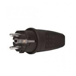 Вилка электрическая прямая однофазная 16А 250В IP44 с заземл. каучук (еврослот) UNIVersal 602227