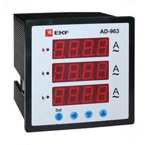 Амперметр цифровой AD-963 на панель 96х96 трехфазный EKF ad-963