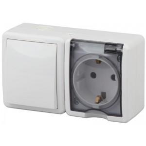 Блок ОП розетка+выключатель 11-7401-01 16АХ(10AX)-250В IP54 Эксперт бел. ЭРА Б0020733