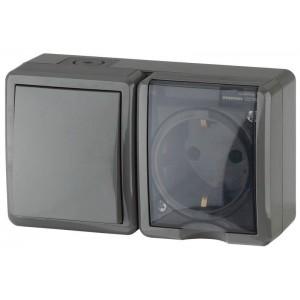 Блок ОП розетка+выключатель 11-7401-03 16АХ(10AX)-250В IP54 Эксперт сер. ЭРА Б0020734