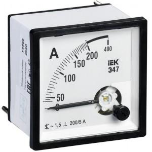 Амперметр Э47 72х72мм 200/5А кл. точн. 1.5 IEK IPA10-6-0200-E