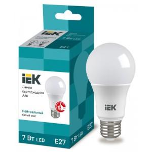 Лампа светодиодная ECO A60 7Вт грушевидная 4000К бел. E27 633лм 230-240В IEK LLE-A60-7-230-40-E27