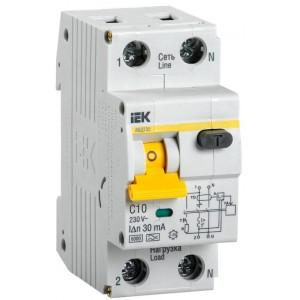 Выключатель автоматический дифференциального тока 2п (1P+N) C 10А 30мА тип A 6кА АВДТ-32 IEK MAD22-5-010-C-30