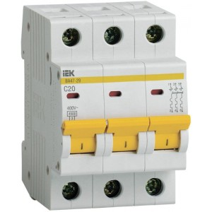 Выключатель автоматический модульный 3п C 20А 4.5кА ВА47-29 IEK MVA20-3-020-C